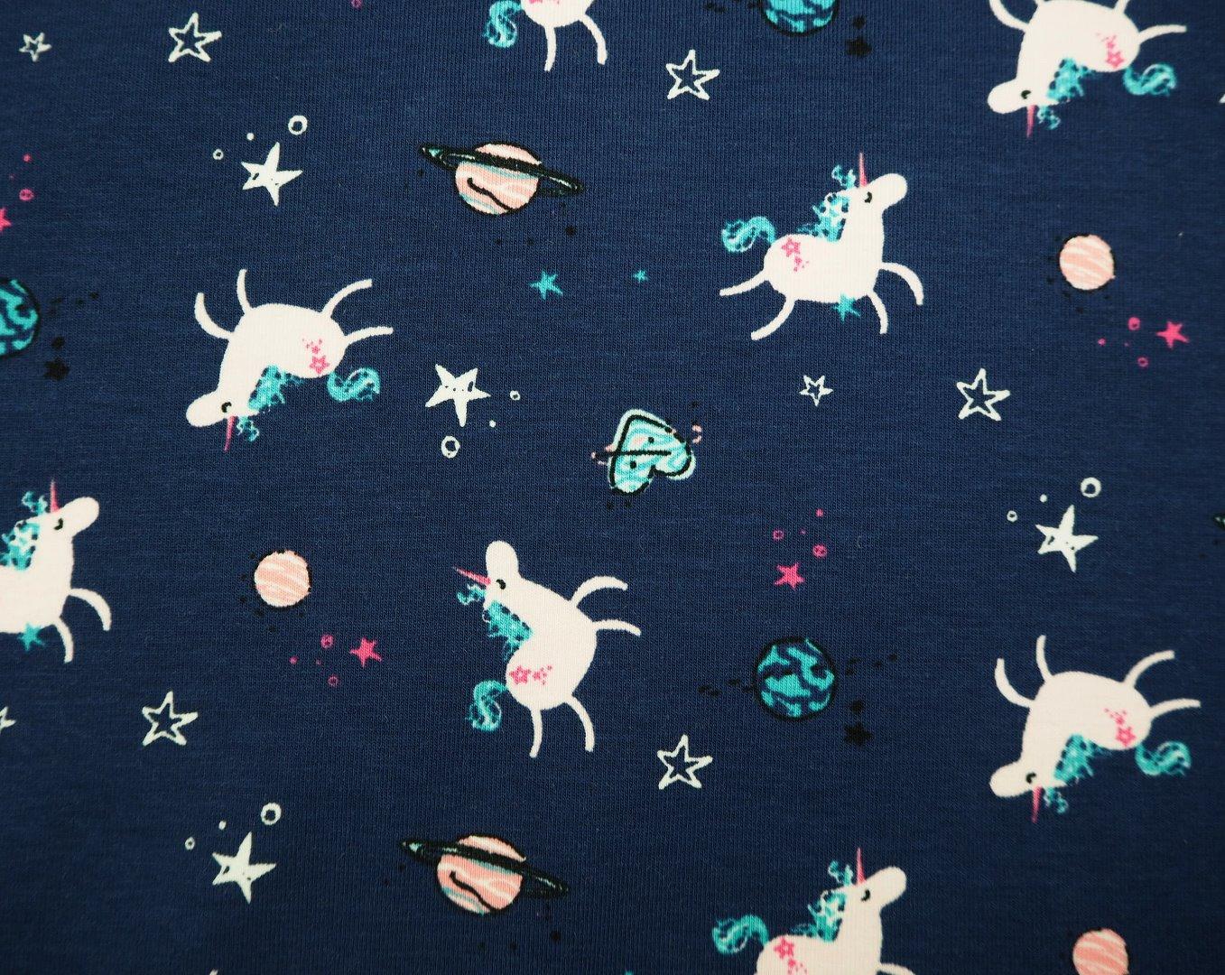 Baumwolljersey Einhörner Sterne Herzen blau rosa - 1