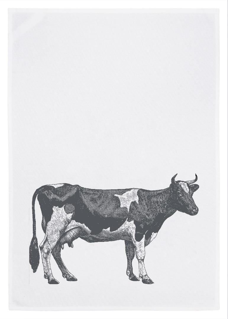 Geschirrtuch weiß Kuh grau