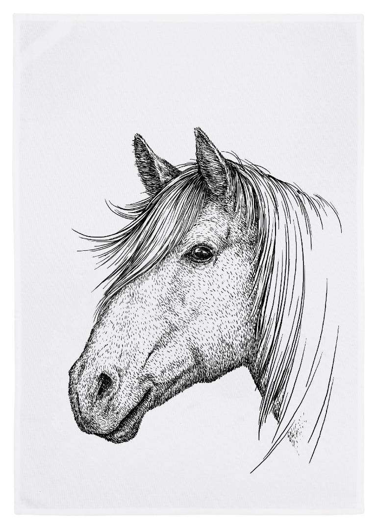 Geschirrtuch weiß Pferd grau