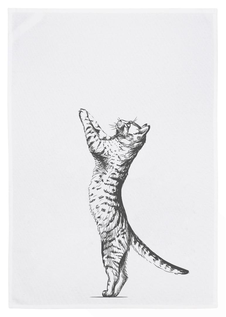 Geschirrtuch weiß Katze grau