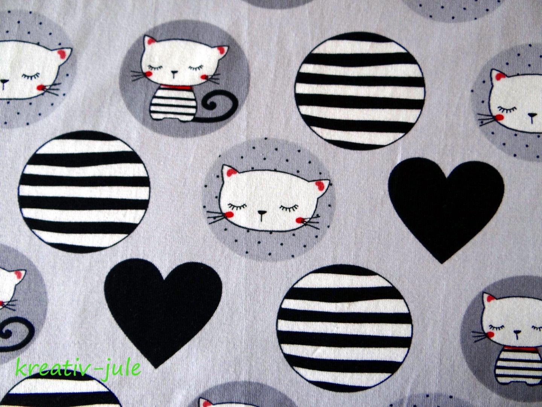 Baumwolljersey Katze Herz grau schwarz weiß