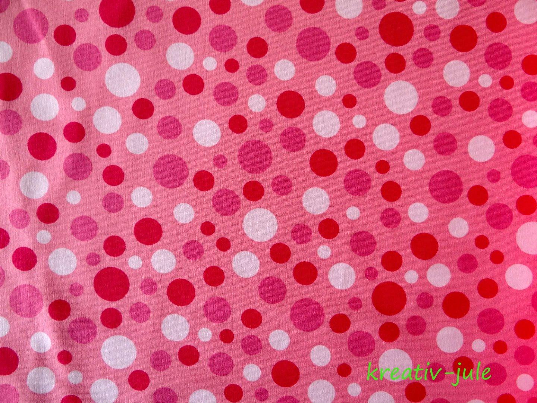 Jersey Punkte Dots Polkadots rosa rot - 1