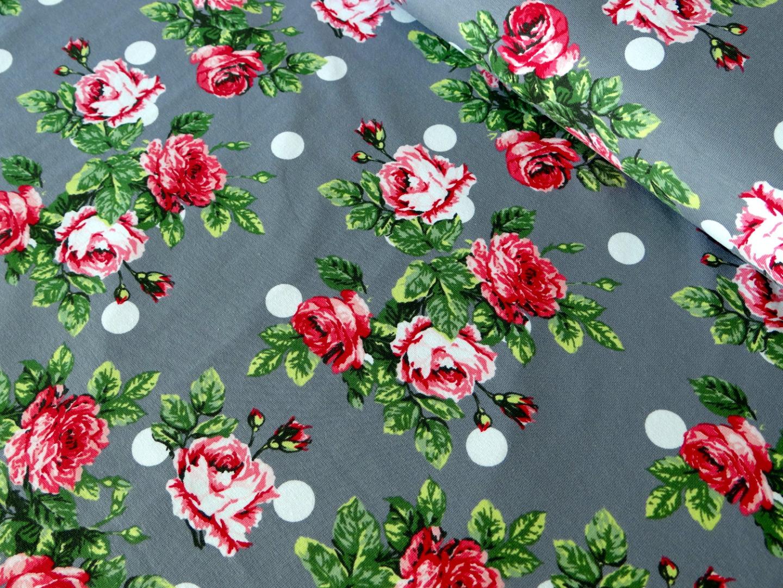Jersey grau, Rosen rosa pink, dots weiß - 1