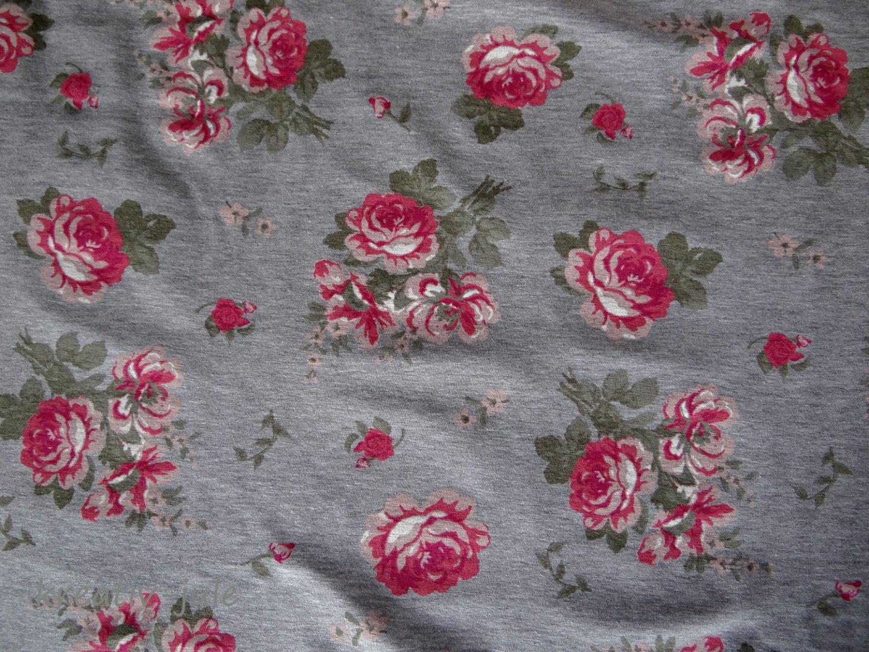 Jersey grau meliert Rosen rosa pink