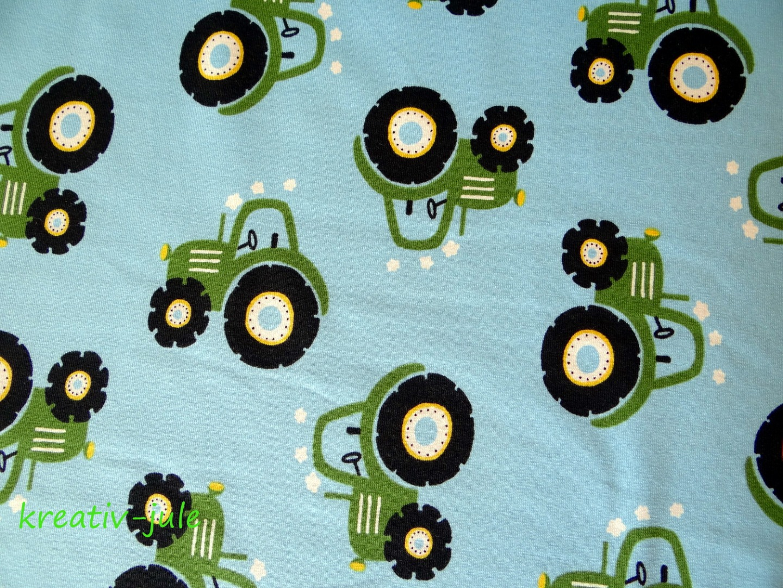 Baumwolljersey Traktor Trecker Treckerjersey hellblau grün