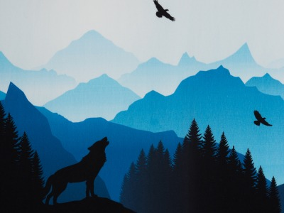 Wolf Moon Sweat tuerkis/blau - Wolf Moon sweat Woelfe Tuerkis