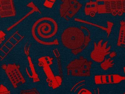 Jersey Feuerwehr Feuerwehrsymbole blau rot Baumwolljersey