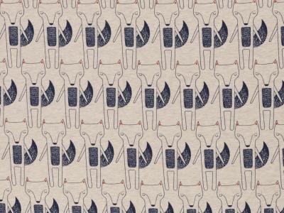 Jersey Fuchs blau beige meliert Benno