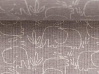 Jersey Elefant beige weiß Benno Baumwolljersey