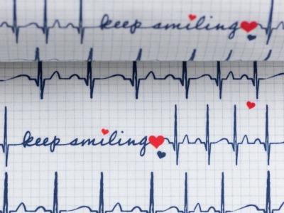 Baumwolle EKG Herzlinie Toni weiß Baumwollstoff