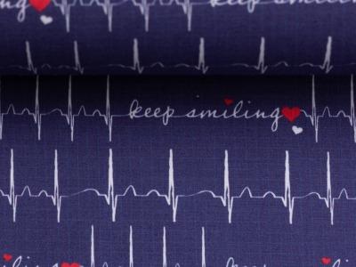 Baumwolle EKG Herzlinie Toni dunkelblau Baumwollestoff