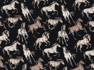 Jersey Pferde blau Theo Swafing Kinderstoff