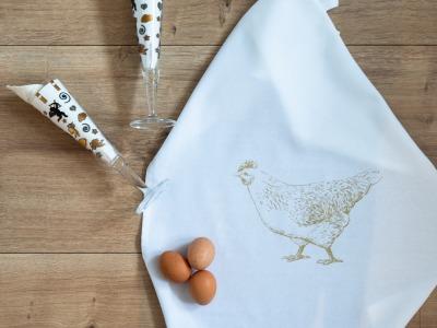Geschirrtuch weiß Huhn gold Geschirrtuch Bauernhof