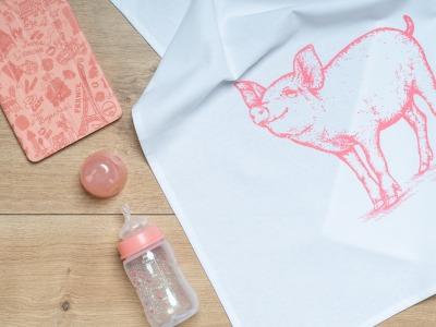 Geschirrtuch Schwein Schweinschen rosa Geschirrtuch Bauernhof