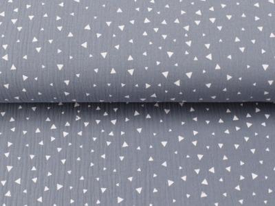 Musselin grau mit kleinen weißen Dreiecken