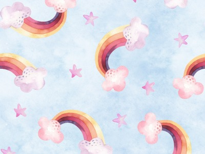 French Terry Regenbogen Wolke Sterne hellblau