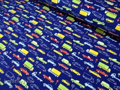 Baumwolljersey blau Fahrzeuge Autostoff Autos