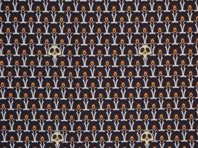 Baumwolle 990EUR/m schwarz weiß Bär Panda