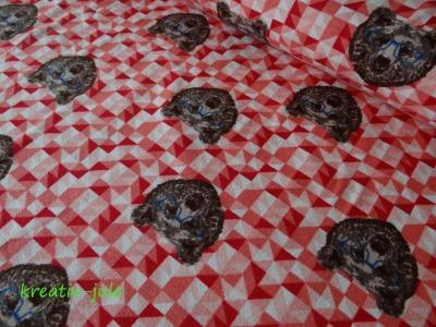 Jersey Bär rot Digitaldruck Baumwolljersey Kinderstoff