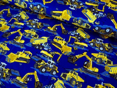 Jersey blau Baufahrzeuge Bagger Laster Kran Walze Radlader