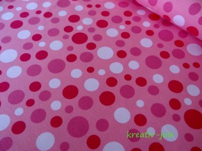 Jersey Punkte Dots Polkadots rosa rot weiss pink