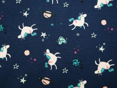 Baumwolljersey Einhörner Sterne Herzen blau rosa - dunkelblauer Jersey mit Einhörner und Sterne