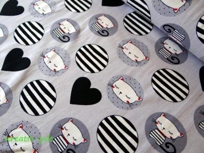 Baumwolljersey Katze Herz grau schwarz weiss