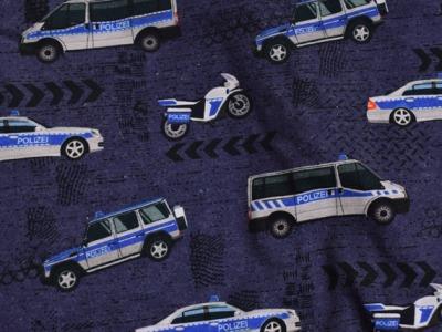 Baumwolljersey Auto Polizei Polizeiauto blau