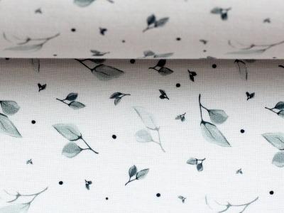 Baumwolle Sudbina weiß zarte Blätter Baumwollstoff