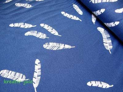 Baumwolljersey Kenny Federn jeansblau blau