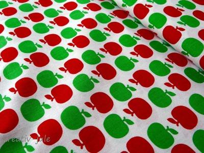 Baumwolle Apfel grün rot Äpfel