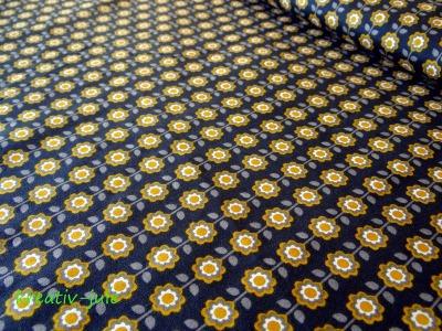 Baumwolle Blumen schwarz senf