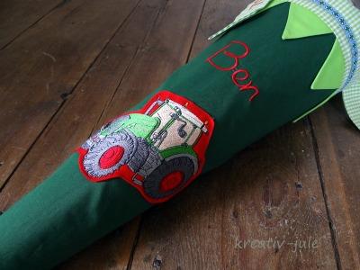 Schultüte Trecker Zuckertüte grün rot Traktor