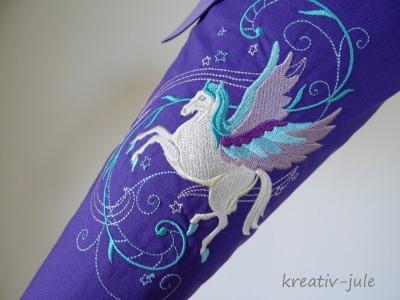 Schultuete Pegasus flieder weiss
