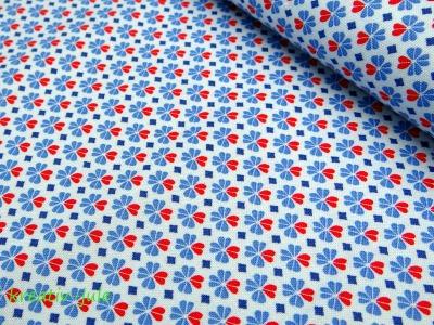 Baumwolle Julia Kleeblatt Klee blau rot