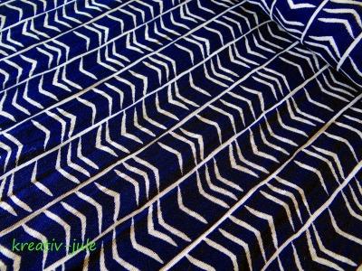 Musselin Double Gauze dunkelblau weiß bedruckt
