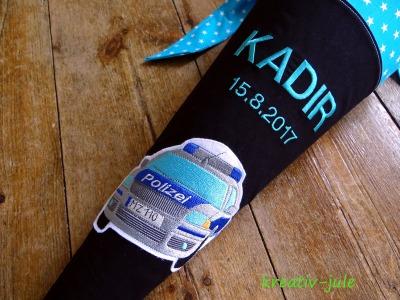 Schultüte Polizei Zuckertüte schwarz türkis Sterne