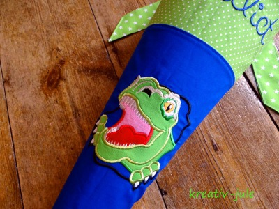 Schultüte Dinosaurier royalblau grün Stoff