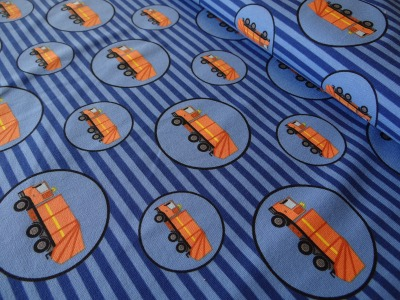 Baumwolljersey Müllauto Müllabfuhr blau Streifen