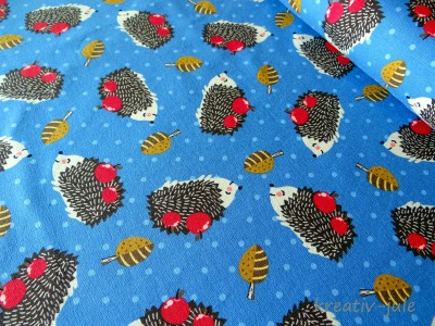 Jersey Wald Igel Blätter Äpfel Punkte blau