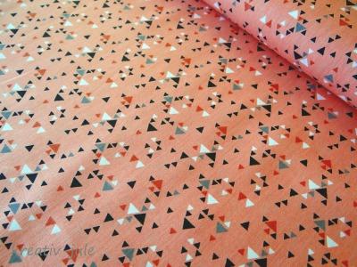 Baumwolle Dreiecke Anina grau apricot