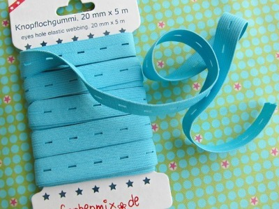 5m Knopflochgummiband Farbenmix hellblau 2cm breit