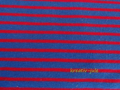 Jersey Streifen dunkelblau rot Ringel RESTSTÜCK