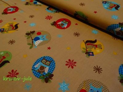 BW-Weihnachtsstoff-Eule,Schneeflocke,Sterne,beige