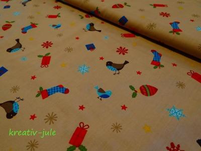 BW-Weihnachtsstoff-Vögel,Schneeflocke,Sterne,beige