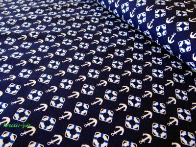 Jersey dunkelblau Anker Rettungsring Maritim weiß