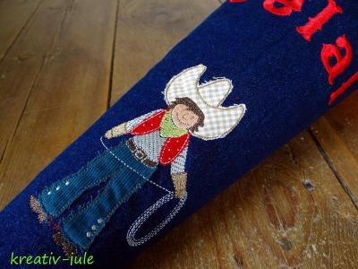 Cowboy Schultüte Western Jeans blau rot