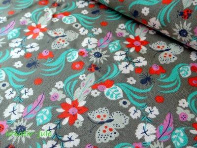 Sweat Freren taupe grau graubraun Blumen
