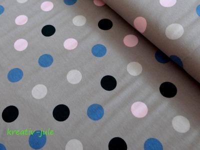 Jersey Punkte Dots Polkadots grau rosa, blau