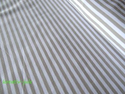 Streifenjersey beige sand weiß Ringeljersey